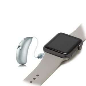 Clara Silver hearing aid with apple watch